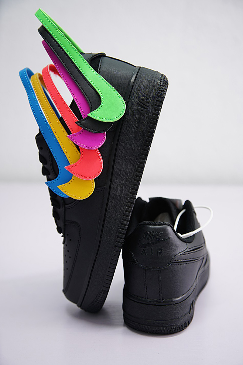 NIKE AIR FORCE 1 07 QS SWOOSH PACK 魔术贴黑彩勾 图片7