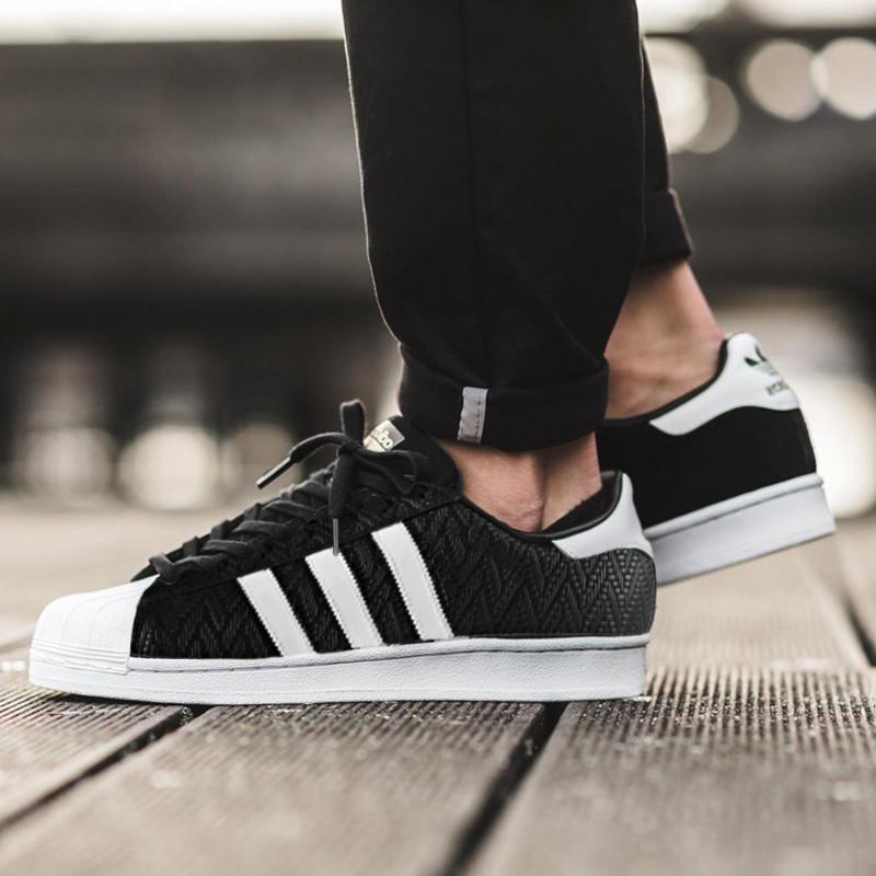三叶草Adidas superstar贝壳头经典板鞋幸运格黑白  黑色 图片1