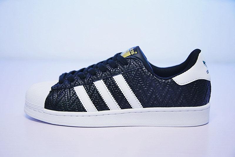 三叶草Adidas superstar贝壳头经典板鞋幸运格黑白  黑色 图片4