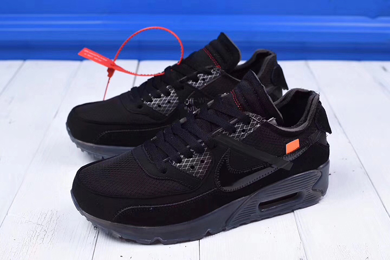 "OFF white x Nike Air Max 90 气垫慢跑鞋""OW全黑白字"""